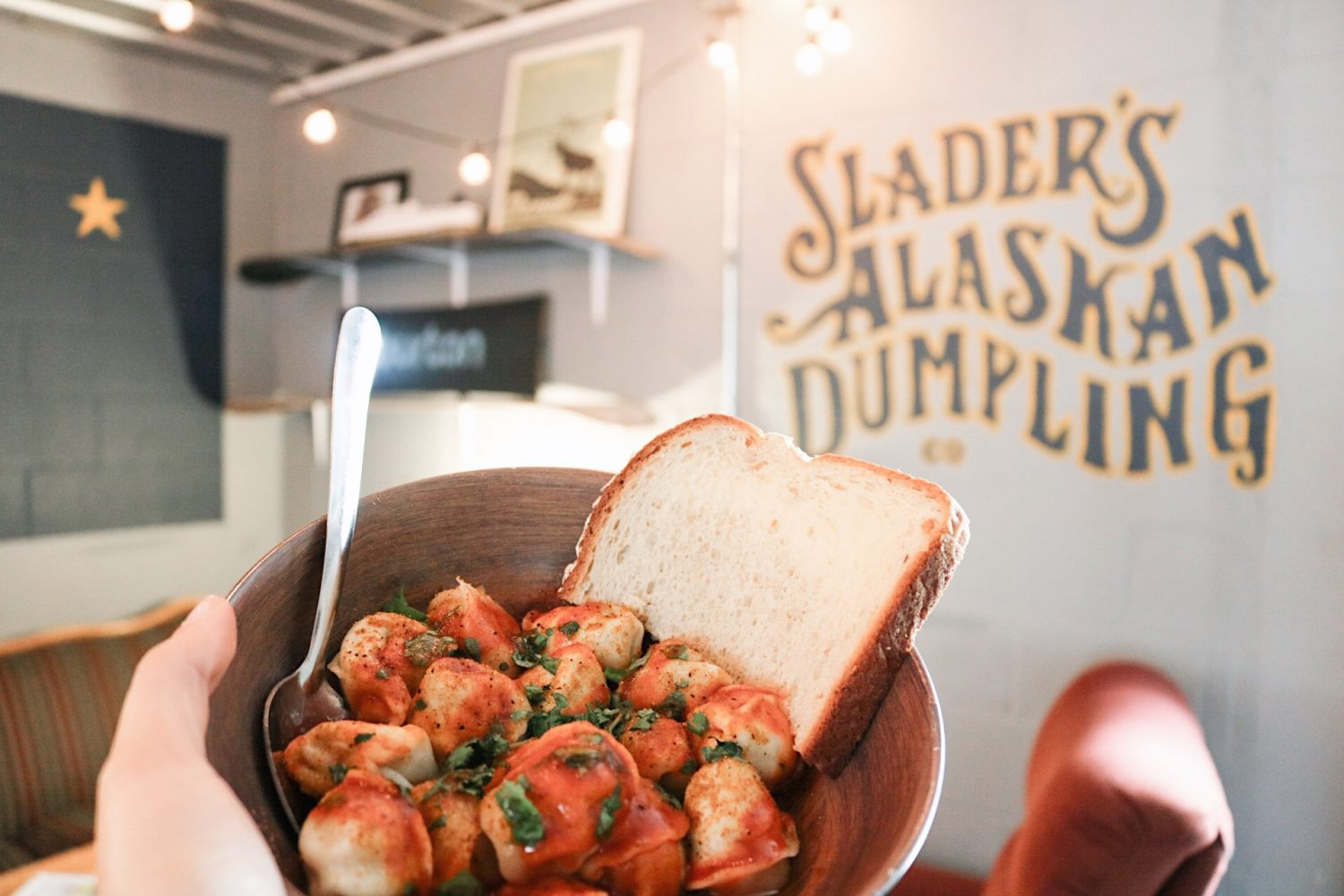 Shader's dumplings come in three flavors; chicken, beef, or potato, and come served with a slice of bread.