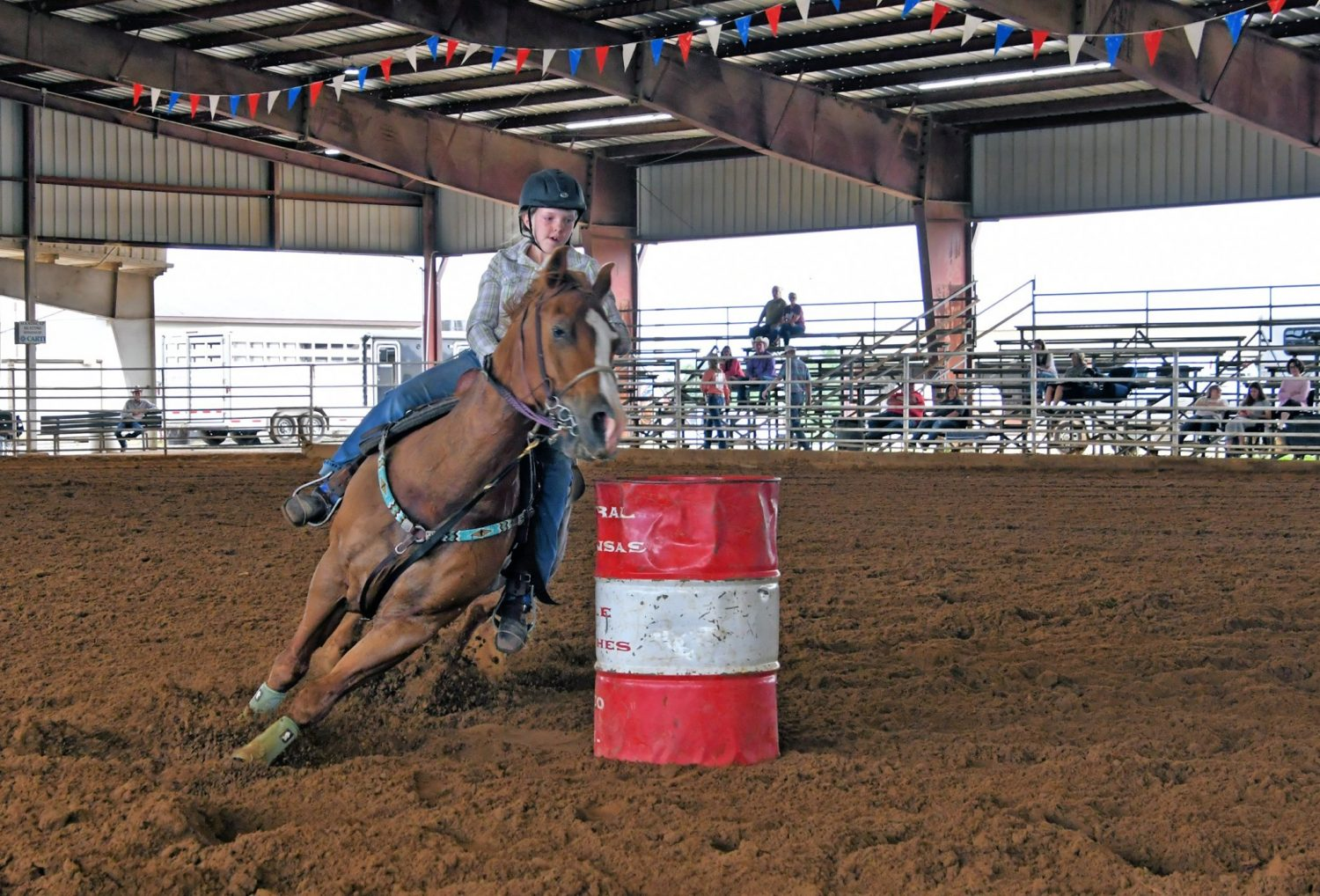 A young girl takes part in the White County Fair's top-ranked rodeo