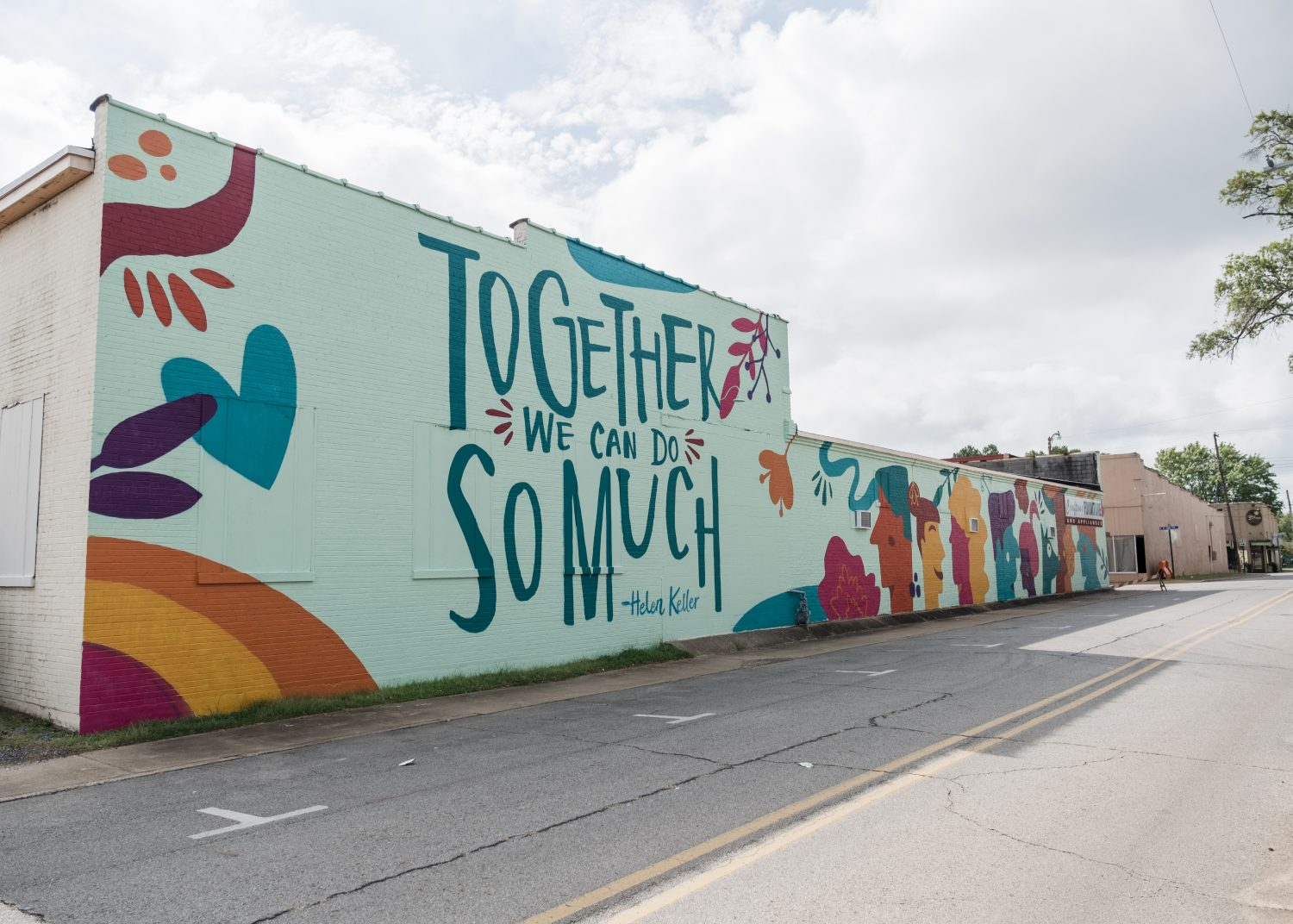 """The """"Together We Can Do So Much"""" mural can be viewed on the northwest side of Downtown Searcy."""