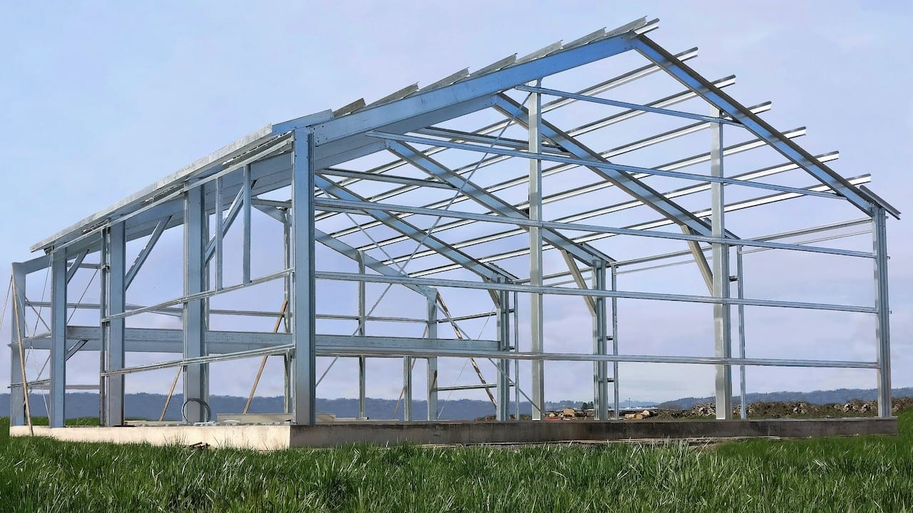 gable roof metal building in construction